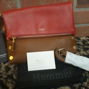 Hammitt RED Cognac Gold Hardware VIP Leather Bag